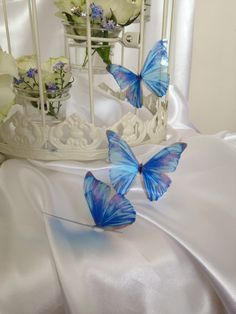 10 Beautiful 3D Exotic Forget me Not SparklingBlue and Lilac Wedding Bedroom Butterflies Flower- Table Decorations by MyButterflyLove on Etsy