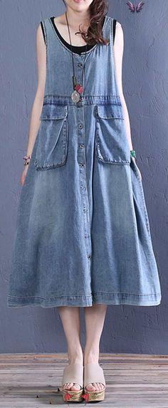 Women o neck pockets Cotton summer Tunics Tutorials denim blue Dresses  <br> Summer Dress Outfits, Casual Summer Dresses, Summer Dresses For Women, Spring Outfits, Spring Clothes, Tunic Tutorial, Big Size Fashion, Casual Hijab Outfit, Hijab Dress