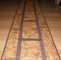 Fall Leaves Quilted Table Runner Orange Rust Green by HollysHutch