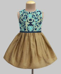 Look at this A.T.U.N. Gold Daisy Trellis Embroidered A-Line Dress - Infant & Kids on #zulily today!