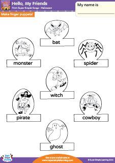 """Hello, My Friends"" Halloween Finger Puppets! Worksheet from Super Simple Learning. #preK #kindergarten #earlyelementary #ESL"