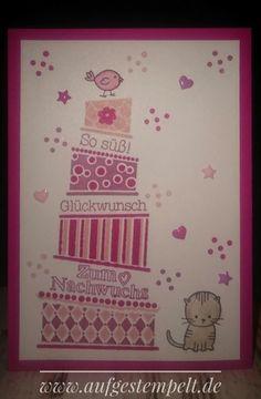 Cake Crazy, Zum Nachwuchs, Babykarte, Mädchen, Katze, Vogel, Glückwunschkarte, Karte, Torte, Rosa, Kirschblüte, Wassermelone, Zarte Pflaume, Apuarellstifte, Lack-Akzente, Stampin Up, Aufgestempelt, www.aufgestempelt.de