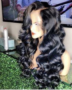 Lace Front Black Wig Lace hair wigs with bangs for african american v part wig Lace hair Lace Front Black Wig Lace hair wigs with bangs for african american v part wig Lace hair Black Hair Wigs, Black Wig, Long Black Hair, Black Curls, Black Braids, Black Dark, Dark Brown, African Hairstyles, Weave Hairstyles