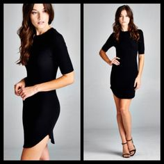 Black Ribbed Light Rounded Bottom Sexy Club Dress Super sexy and perfect in time for this season! Pair it with knee highs or black/designed tights and booties for the complete look!! Sizes S M L. Runs a tad on the smaller size. Semi fitted dress with rounded hems. 95% rayon, 5% spandex. Dresses Mini