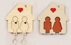 House She Her Key Rack Holder Wall  CNC Cut file Laser DXF CAD drawing cuttable pattern line cdr eps svg graphic digital router design