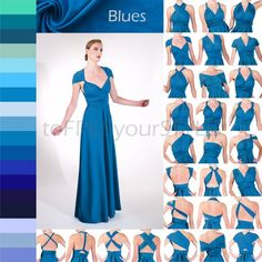 Long convertible dress in BLUES, A-LINE Free-Style Dress, infinity dress, convertible wrap dress, ma Infinity Dress Bridesmaid, Bridesmaid Dresses, Prom Dresses, Formal Dresses, Convertible Clothing, Convertible Dress, Infinity Dress Patterns, Skirt Fashion, Fashion Dresses