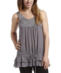 Love this Simply Irresistible Silver Beaded Yoke Tank by Simply Irresistible on #zulily! #zulilyfinds
