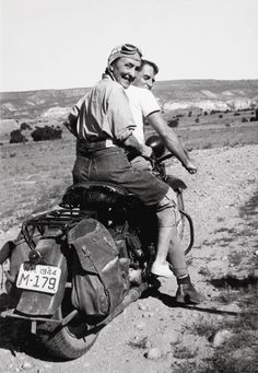 Georgia O'Keeffe hitching a ride on a motorcycle to Abiquiu, Ghost Ranch, 1944. So good.