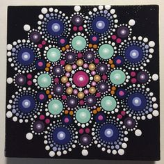 Hand Painted Mandala on Canvas Dot Art Calming by MafaStones