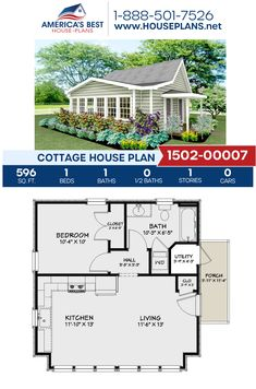 Plan features a Cottage home with 596 sq., 1 bedroom, 1 bathroom, and an open floor plan. Guest House Plans, Cabin Plans, Guest Cottage Plans, 1 Bedroom House Plans, Cottage Ideas, Small House Floor Plans, Cottage Floor Plans, Little House Plans, 500 Sq Ft House