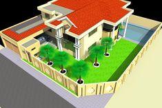 Projet de construction d'une Villa a Cotonou au Benin | Albert Kwessi Row House Design, Box Design, Box Architecture, Villa, Construction, Modern House Plans, Dune, Mansions, House Styles