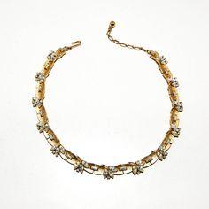 Crown Trifari Rhinestone Necklace Baguette by VintageMeetModern #GotVintage  #Vintage  #Jewelry