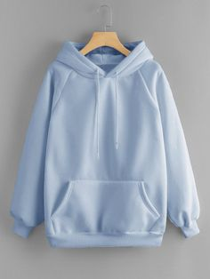 Dotfashion Blue Pocket Drawstring Detail Solid Hoodie Women Casual Clothing Autumn Plain Long Sleeve Hooded Pullovers Sweatshirt - blue,s Teen Fashion Outfits, Casual Outfits, Cute Outfits, Women's Casual, Style Casual, Grunge Outfits, Summer Outfits, Stylish Hoodies, Comfy Hoodies