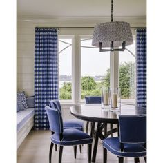 Sitting on the waterfront of Newport, Rhode Island, filled with upholstery, the 2017 Idea House showcases traditional elements alongside layered patterns in a refreshingly modern palette of blue and white. We are especially fond of this cozy dining nook! Fine Furniture, Dining Furniture, Dining Nook, Dining Chairs, Luxury Interior, Interior Design, Lee Industries, Upholstered Furniture, Coastal Living