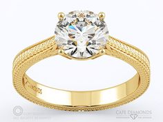 88. Most Beautifully Detailed Engraved Diamond Engagement Ring : Cape Diamonds