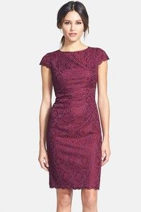 "Small pleats cause subtle, flattering drape across a jewel-neck lace sheath dress designed with airy eyelash fringe along the cap sleeves and hem. <ul> <li>39"" regular length (size 8)"