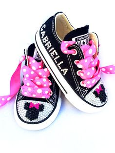 46186b70791 Minnie Mouse Toddler Converse Bling Shoes