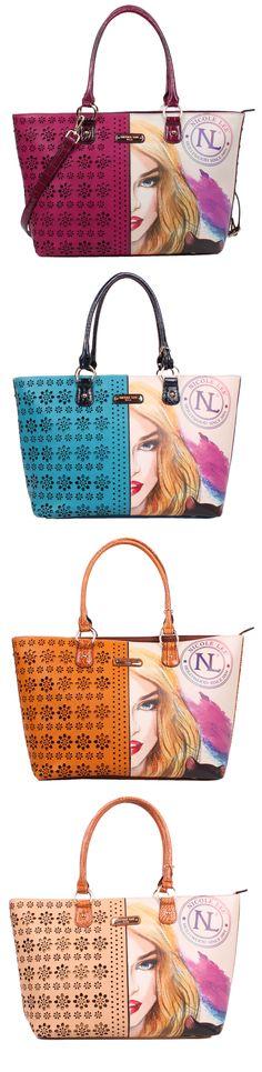 CAT LADY PRINT SHOPPER BAG by Nicole Lee #nicolelee #purse #handbag #shopperbag…
