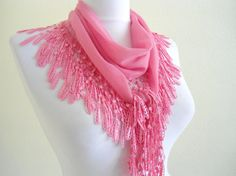 Traditional Turkishstyle pink  Necklace by likeknitting on Etsy, $14.99