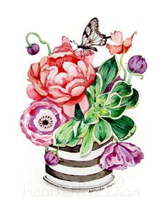Flower Watercolor Painting Original - Stripes- Jar - Poppies - Peony - Succulent - Butterfly - 9 x 12