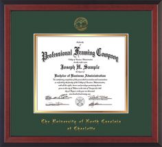UNC Charlotte Diploma Frame - Cherry Reverse - w/UNCC seal Green/Gold – Professional Framing Company