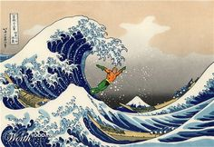 """""""The Great Wave off Kanagawa"""" by Hokusai is iconic, but having Aquaman invade our more serious ruminations on the piece just makes us smile...."""