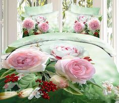 Cheap bedding set, Buy Quality printed bedding set directly from China bed duvet Suppliers: Hot Pink Rose Flower Printed bedding Sets Cotton Bed Duvet Covers Girls bedclothes Bedroom Decor Full Queen King Wedding 3d Bedding Sets, Cotton Bedding Sets, Duvet Sets, Duvet Cover Sets, Cotton Duvet, White And Pink Roses, Hot Pink Roses, Painted Beds, Pink Rose Flower