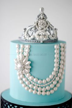 Breakfast At Tiffany's First Birthday Cake by Make Fabulous Cakes