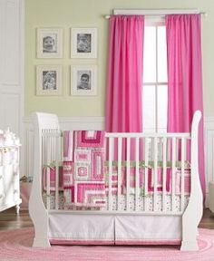 I love the color of the walls and the bright curtains. Pink with my crib just doesn't look good.
