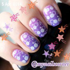 Gradient purple bubbles pueen @mynailscorner