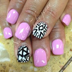 Pink & accent nails