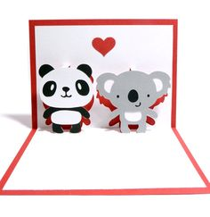 Panda and Koala In Love Pop Up Card by CookieBits on Etsy, $5.85