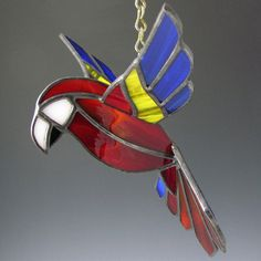 3D Scarlet Macaw Stained Glass Bird by AngelasGlassStudio on Etsy, $32.00