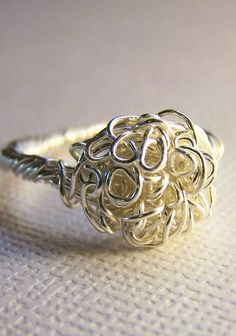 Nest of Curls Silver Wire Sculptured Ring