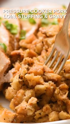 Pressure Cooker Pork Loin, Stuffing & Gravy is a delicious one-pot recipe all made in your Instant Pot. This all in one meal make with easy Stove Top dressing will be an instant family favorite!