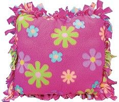 Fleece pillow, no sew, great project for the kids