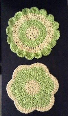 Pretty Handmade Crochet Set Of Two Pot Holder Flower Yellow Green  | eBay