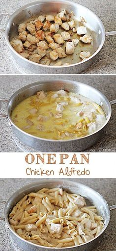 This one pan chicken alfredo is perfect for busy weeknights, or any night when you want to have dinner on the table in about 30 minutes. Serve this alongside a simple salad for a meal the whole family will love. The best part of this chicken alfredo is that it is made in just one pan, just like my Skillet Enchiladas. Easy prep, and easy clean up! #dinner #chickenrecipes #easyrecipe