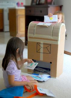 cardboard mail box  http://familysponge.com/create/kidsart/eight-awesome-things-to-make-with-cardboard/