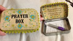 Prayer Box can be easily made with some craft supplies and and Altoid box! Diy And Crafts, Crafts For Kids, Arts And Crafts, Homemade Gifts, Diy Gifts, Just In Case, Just For You, Craft Projects, Projects To Try