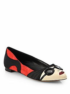 Alice + Olivia - Stacey Mixed-Media Ballet Flats c9071b8a0aaa3