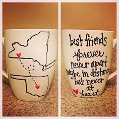 Best Friends; Long Distance Relationship; Personalized Coffee cups/mugs