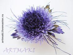 """Купить Астра """"Мирит"""" - цветы ручной работы, цветы в украшении, брошь цветок, цветы из ткани"""