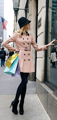 pale pink pea coat with a black hat and black booties, classic