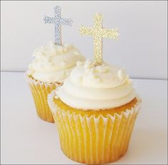 #CupcakeToppers #Baptism or Communion, Silver and Gold #Glitter by JaclynPetersDesigns