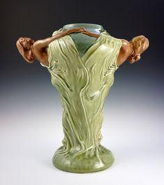 Circa 1900, Art Nouveau Double Maiden Ceramic Vase