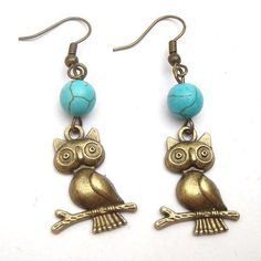 Antiqued Brass Owl Green Turquoise Earrings.