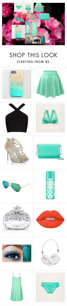 """""""aquamarine"""" by iburling ❤ liked on Polyvore featuring LE3NO, BCBGMAXAZRIA, Aerie, Jimmy Choo, Kate Spade, Ray-Ban, Kobelli, Frends, Topshop and Packandgo"""