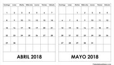 Calendario Abril Mayo 2018