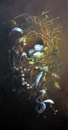 Bird Nest painting original magpie pearls nest art by 4WitsEnd